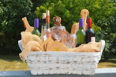Looking for a distinct gift idea for your wine connoisseur friends? Choose one of our baskets, like this chippy, white one with handles, and simply fill it with favorite wines, a few glasses, and other accessories you may desire. Our basket collection makes gift giving easy!