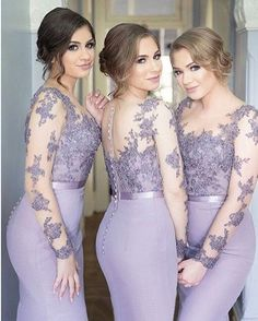 Long Sleeves Bridesmaid Dresses,Mermaid Bridesmaid Dress,Scoop Lilac bridesmaid…