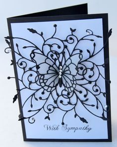 Sympathy Card made with Memory Box Dies madera corner, vivienne butterfly