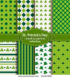 Happy St. Patrick's Day! Set of holiday backgrounds. Collection of seamless patterns in green, blue-green and white colors. Vector illustration. - stock vector