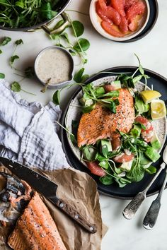 Baked Salmon with Grapefruit Salad, Baked Salmon with Grapefruit Salad, Fish Recipes, Seafood Recipes, Salad Recipes, Dinner Recipes, Potato Recipes, Lunch Recipes, Cocktail Recipes, Pasta Recipes, Holiday Recipes