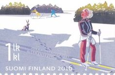 Stamp: Skiing (Finland) (Everyman's right) Mi:FI Colnect, connecting collectors. Only Colnect automatically matches collectibles you want with collectables other collectors swap. Colnect collectors club revolutionizes your collecting experience! Stamp Collecting, Time Travel, Postage Stamps, Finland, Childrens Books, Skiing, Illustrations, Collection, Stamps