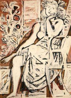 Daydreaming, 1959 by Yiannis Moralis. National Art Gallery and Alexander Soutzos Museum Gouache, Greek Paintings, Art Antique, Ecole Art, Painter Artist, Portraits, Greek Art, Illustrations, Illustration Art