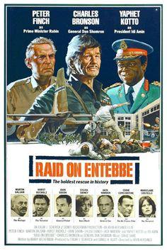 RAID ON ENTEBBE (1976) - Peter Finch - Charles Bronson - Yaphet Kotto - Martin Balsam - Horst Bucholz - John Saxon - Jack Warden - Eddie Constantine - Mariclare Costello -  Directed by Irvin Kirschner - Made-for-TV Movie - Movie Poster.
