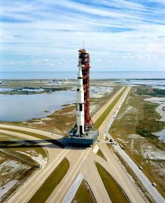 Saturn 5 ... Awesome! A high-angle view at Launch Complex 39, Kennedy Space Center (KSC), showing the Apollo 14 stack.