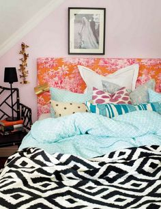 Black and white patterned bedding