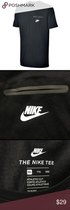 NIKE TRI-BLEND SMOKE SCREEN POCKET BLACK T SHIRT NWT NIKE MEN'S BLACK TRI-BLEND BOND SMOKE SCREEN POCKET T-SHIRT SZ XXL  Product Code : 834646 010 Colors : Black body with white NIKE/Swoosh at left pocket. Materials : 50% Polyester, 25% Cotton, 25% Rayon Size : Men's XXL Descriptions : Head out to your next adventure looking good in this Nike NSW t-shirt that is anything but your basic tee. * Left chest bemis pocket adds style detail. * Full back panel smoke-screen camo print adds visual…