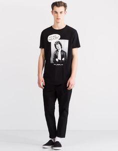 Pull&Bear - hombre - novedades - camiseta print mick jagger - negro - 05238598-V2016