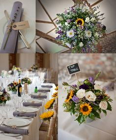 I like the sunflowers tied to the chairs - Also using twine around the napkin with the name tag