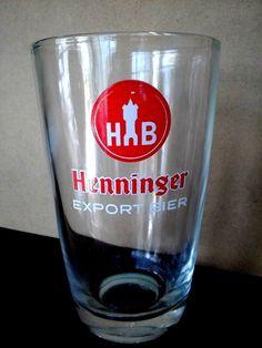 RARE Vintage HENNINGER Export Bier BEER GLASS 220ml NEAR NEW #SteinsDrinkware