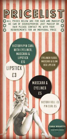 makeup / hair #pricelist #vintage