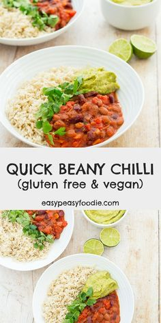 This Quick Beany Chilli is a lovely, warming, vegan version of chilli con carne, that is quick and easy to make, cheap, healthy and yet tastes really good – perfect comfort food for a chilly evenings! #beanchilli #beanychilli #veganchilli #vegetarianchilli #beanchili #veganchili #vegan #vegetarian #glutenfree #dairyfree #makeahead #onepot #easymidweekmeals #easymeals #midweekmeals #easydinners #dinnertonight #dinnertonite #familydinners #familyfood #easypeasyfoodie Vegan Vegetarian, Vegetarian Recipes, Vegan Soups, Vegan Meals, Delicious Vegan Recipes, Healthy Recipes, Healthy Meals, Healthy Food, Easy Dinner Recipes