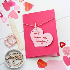 Use baker's twine and mini clothespins to make this cute card! See what the inside looks like: http://www.bhg.com/holidays/valentines-day/cards/valentines-day-card-making-party/?socsrc=bhgpin020413clothespincard=10