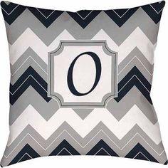 Thumbprintz Chevron Monogram Decorative Pillow, Blue