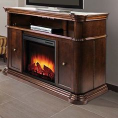 Pleasant Hearth - Linton Electric Media Fireplace - Cherry Finish ...
