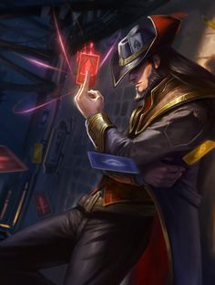 Card Master - Twisted Fate - League of Legends (artist? Lol League Of Legends, Champions League Of Legends, Lol Champions, Fantasy Male, Fantasy Warrior, Fantasy Heroes, Comic Book Characters, Fantasy Characters, Desenhos League Of Legends
