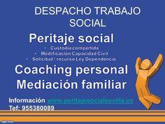 DESPACHO TRABAJO SOCIAL   Peritaje Social Custodia compartida Modificación Capacidad Civil Solicitud/Recurso Ley Dependencia Coaching personal Mediación familiar  ________________________________________________________ TRABAJO SOCIAL Y MEDIACIÓN - PERITAJES SOCIALES FACEBOOK: https://www.facebook.com/peritajesocialsevilla C/ Océano Índico, 25, Mairena del Aljarafe, Sevilla Tfno. 610 810 372 WEB: http://www.peritajesocialsevilla.es info@peritajesocialsevilla.es