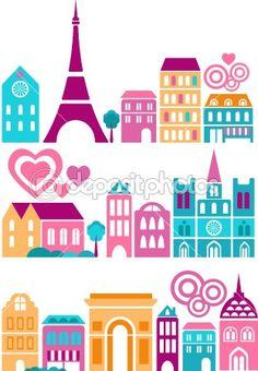 Cute vector illustration of Paris by Marina Zlochin - Imagens vectoriais em stock Rock N Folk, Paris Cards, Paris Landmarks, Skyline Image, Romantic Paris, Paris Images, World Crafts, Printable Planner Stickers, Printables