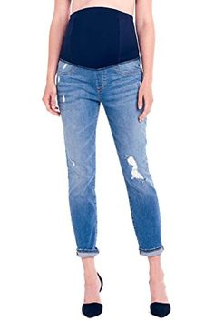 Ingrid  Isabel Womens Maternity Mia Boyfriend Jean with Crossover Panel Distressed Medium Wash 28 >>> Read more  at the image link. (This is an affiliate link and I receive a commission for the sales) #MaternityJeans
