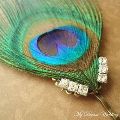 Peacock Hair Pin. Bridesmaids - Bridal peacock Feather pin. Swarovski Crystal hair pin. Something Blue -DESIREE-