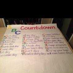 """My """"ABC Countdown"""" that I created for my students and me too :) each day is something fun to do while counting down the days left until the last day :)"""