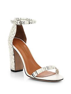 Rebecca Minkoff Mali Snake-Embossed Leather and Suede Sandals