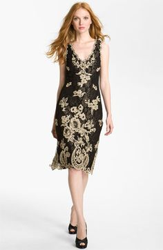 V-Neck Embroidered Mesh Sheath Dress