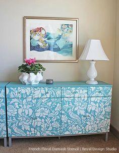 Allover Stencil Patterns on Furniture | Royal Design Studio Stencils and Chalk Paint® decorative paint