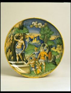 Plate depicting The Resurrection, painted by Baldassare Manara, Faenza, dated 1535, tin-glazed earthenware | Manara, Baldassare | V&A Search the Collections