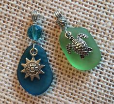 2X Sea Glass Pendants DIY For Necklaces Personalize Your Gifts Sunshine Turtle #Unbranded #WireWrapCharm #seaglassearrings #seaglassearringsideas #seaglassdiy