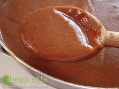My go-to enchilada sauce recipe; I add cumin and one minced chipotle pepper in adobo sauce.  Delish!