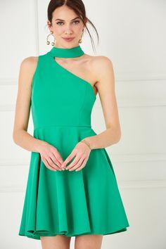 TRENDYOLMİLLA Yeşil Tek Omuz Elbise