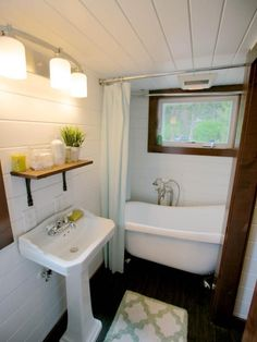 See how to style your small bathroom | HGTV >> http://www.hgtv.com/design-blog/shows/tiny-house-bathrooms-packed-with-style?soc=pinterest