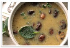 """White Bean Roasted Mushroom Soup (recipe) - """"Roasted vegetables and aromatics are pure bliss. Using a healthy pureed white bean and broth base instead of cream, it can be enjoyed often, guilt-free. Healthy Soup Recipes, Bean Recipes, Vegan Recipes Easy, Vegetarian Recipes, Cooking Recipes, Healthy Foods, White Bean Soup, White Beans, Vegan Soups"""