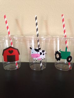 Farm party cups by DivineGlitters on Etsy https://www.etsy.com/listing/244981138/farm-party-cups