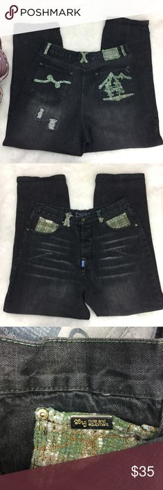 """LRG Mens 34 Destroyed Denim Jeans Fresh Outdoors LRG Mens 34 Black Denim Jeans Style  Destroyed Distressed with tree embroidered back pocket.  Style # S19302C47 / Fresh Outdoors Measurements flat: Waist 17"""" Inseam 30"""" Rise 14"""" Lrg Jeans Straight"""
