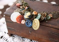 Antique Vintage Button Collection Necklace FOUND by HiButterfly