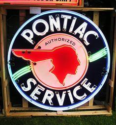 "Neon Pontiac Sign - ""Authorized Pontiac Service"""
