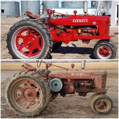 Finally done before and after 1944 farmall h Antique Tractors, Vintage Tractors, Antique Cars, Tractor Pictures, Farm Pictures, Tractor Mower, Red Tractor, Farmall Tractors, Ford Tractors