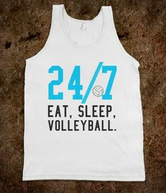 24/7 eat sleep volleyball tank top tanktop tee t shirt....Great Idea for Volleyball Teams