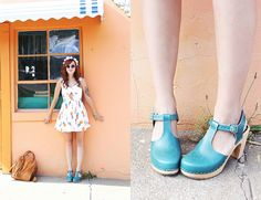 Katie from Skunkboy Blog in T-Strap Turquoise A Beautiful Mess x Swedish Hasbeens <3