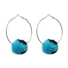 Pompom Hoop Earrings - Blue and Black