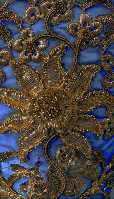 Lesage {alt pins show this as pale blue background, silver embroidery & incorrectly dated c.1750}