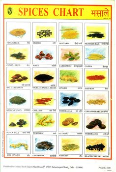 indian spices chart