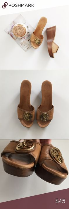 "Tory Burch Selma Leather Wedge Heel Sandals Tory Burch ""Selma"" brown leather wedges sandals size 10. Does have some wear as pictured, price is reflected on condition. Still lots of life left! No major stains, holes or tears. Smoke and pet free home. Tory Burch Shoes Wedges"