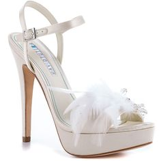 David Tutera Women's Feather - Ivory ($154) ❤ liked on Polyvore featuring shoes, sandals, heels, ankle strap, formal, open toe, platform, stiletto heels, women and fancy sandals