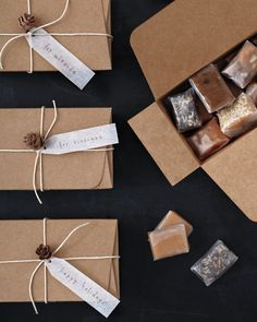 Package homemade caramel candies in plain cardboard cartons. Tie up the boxes with kitchen twine, and maybe even adorn each with a sweet little pinecone. Done. Get the recipes for Classic Caramel Candies and five variations: Sesame Ginger Caramel Candies, Orange Espresso Caramel Candies, Chocolate Coconut Caramel Candies, Maple Walnut Spice Caramel Candies, and Mixed Nut and Thyme Caramel Candies.