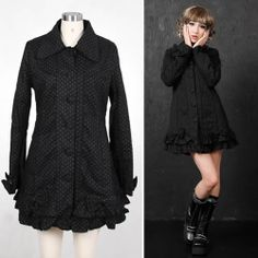 Cute Black Polka Dot Gothic Lolita Fashion Dress Trench Coats Women SKU-11401541