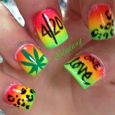 rasta nails #onelove cute leopard print! And bright colors