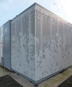 Facade Design, Wall Design, Exterior Design, House Design, Perforated Metal Panel, Metal Panels, Building Skin, Building Facade, Architecture Paramétrique